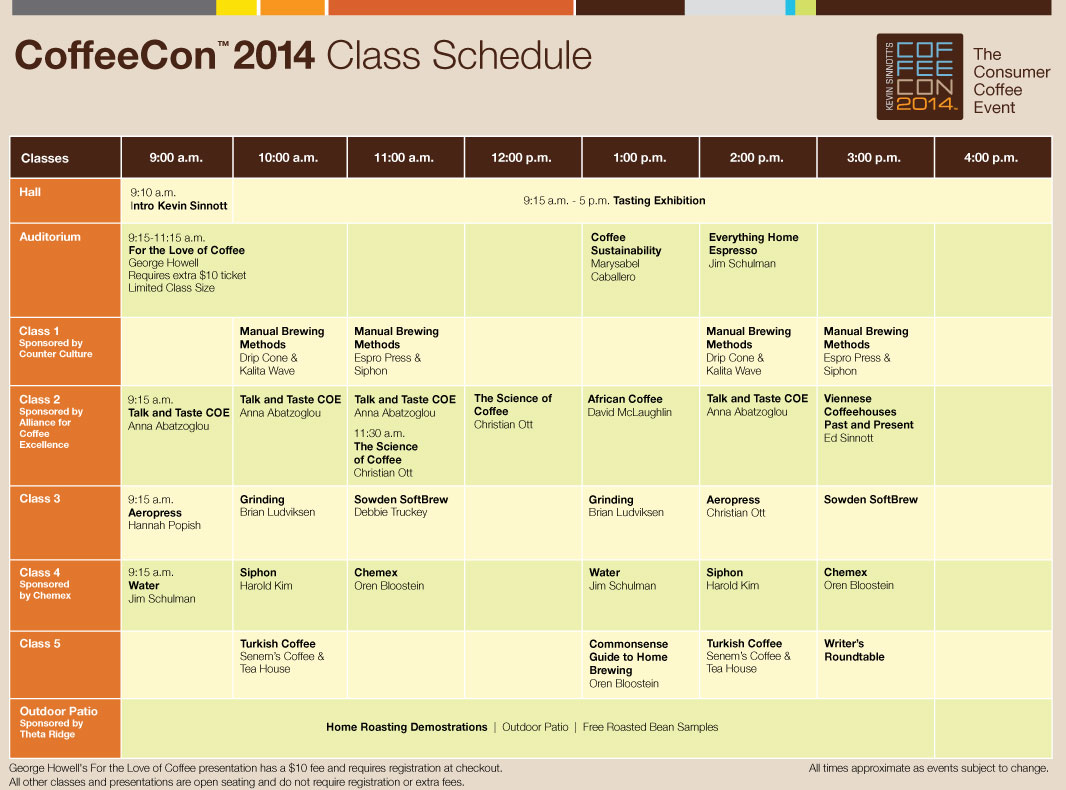 class schedule2014 Presentations / Classes