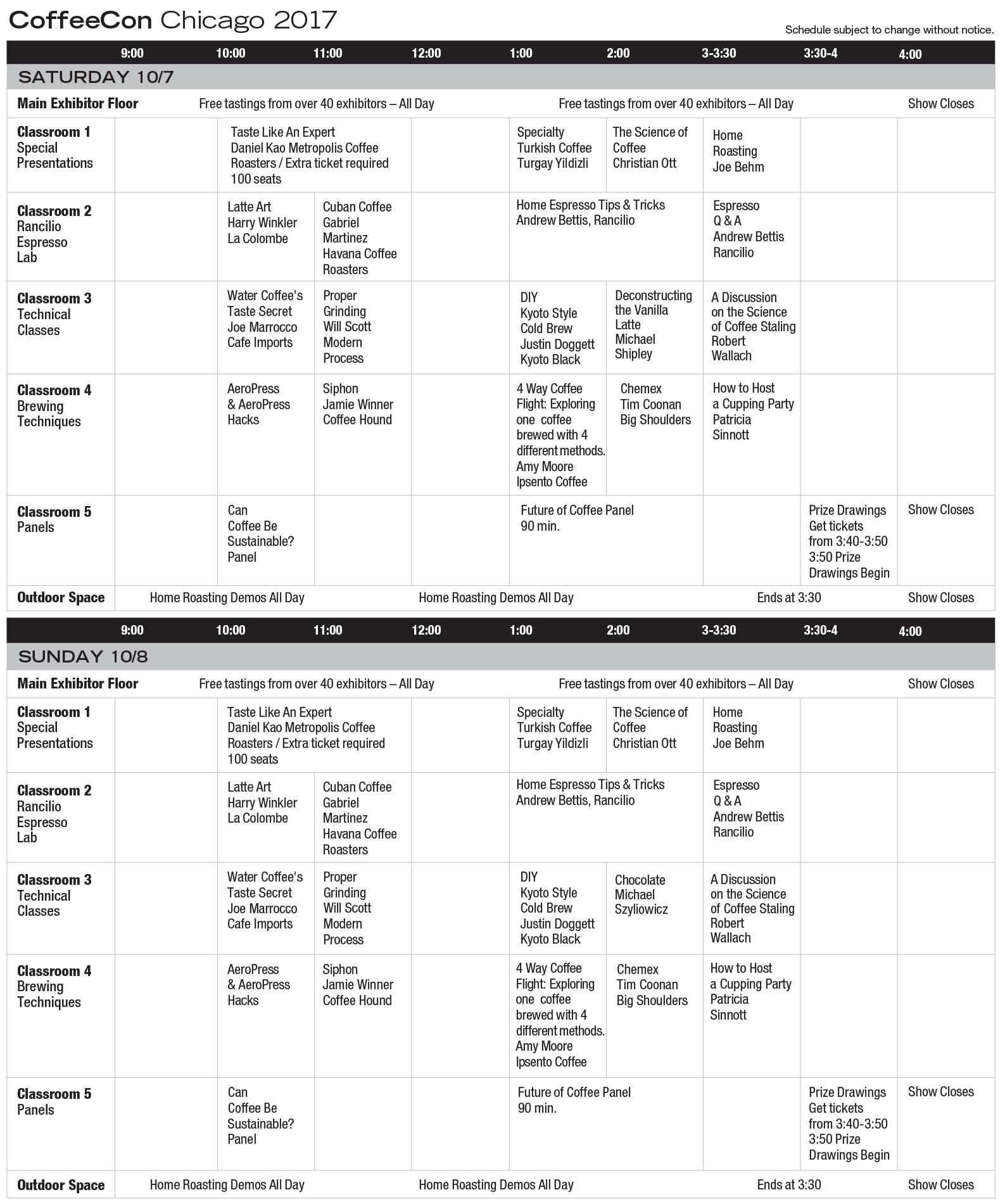 CoffeeConChicago 2017 Class Schedule